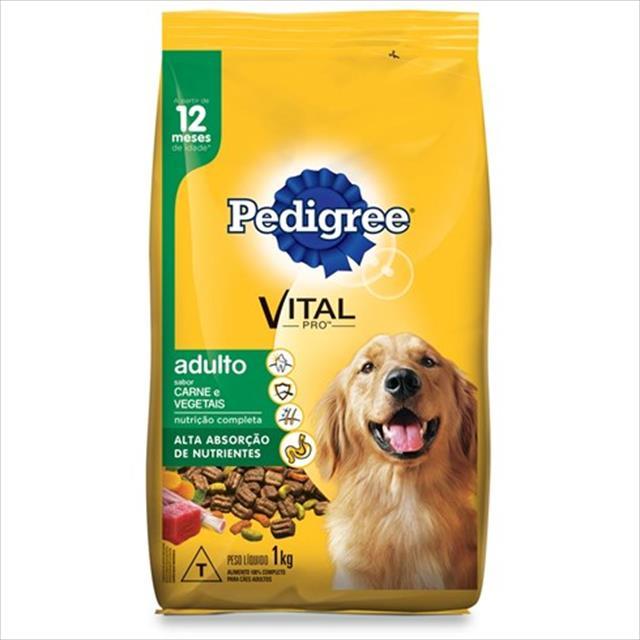 ração pedigree carne e vegetais para cães adultos a partir de 12 meses de idade - 1kg