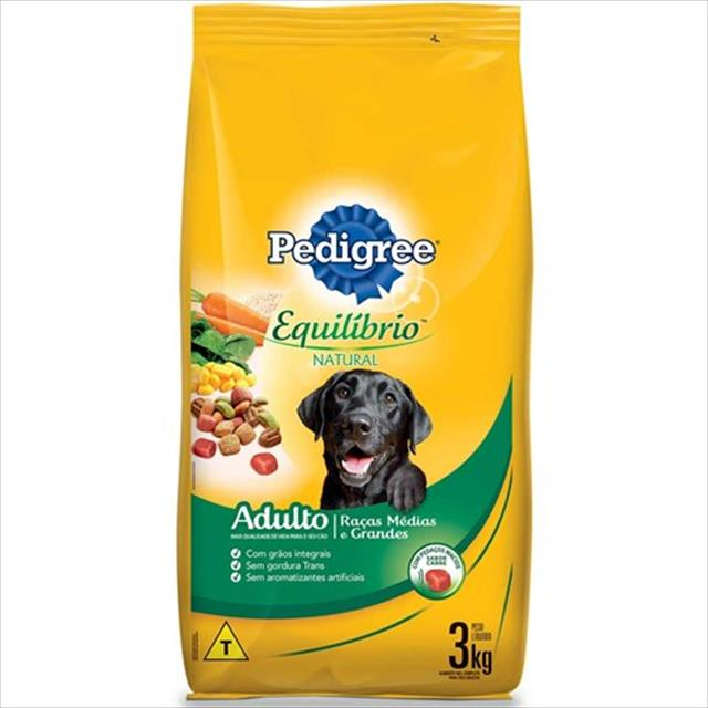 ração pedigree equilíbrio natural para cães adultos de raças médias e grandes - 3kg