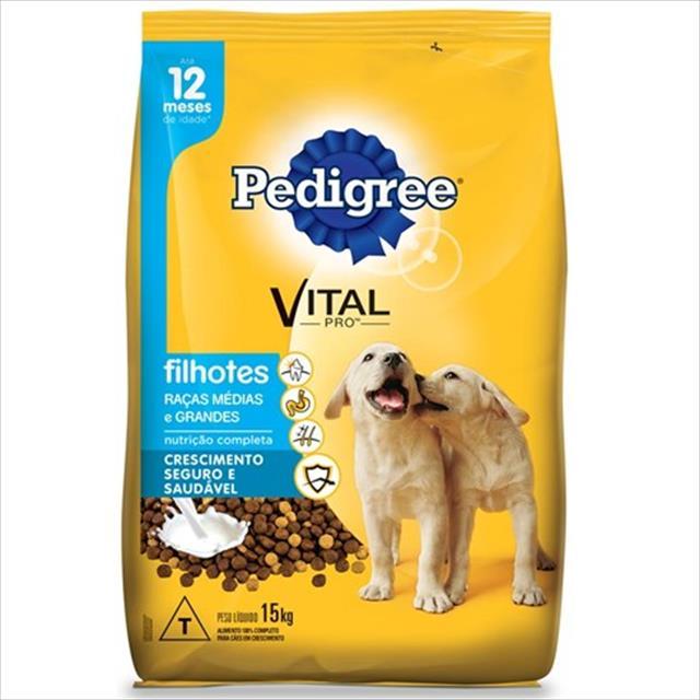 ração pedigree junior para cães filhotes de raças médias e grandes - 15kg