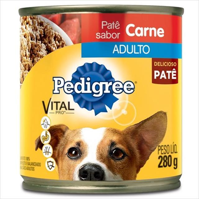 ração pedigree lata patê de carne para cães adultos - 280gr