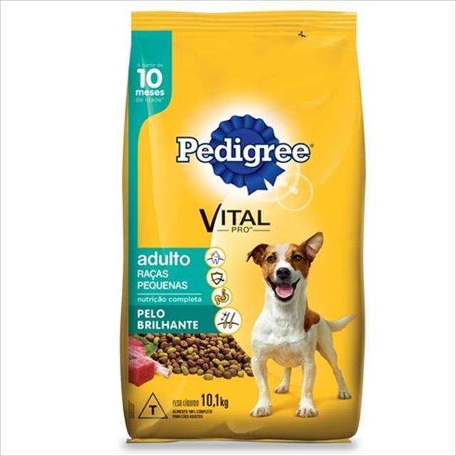 ração pedigree pelo brilhante para cães adultos de raças pequenas a partir de 10 meses de idade ração pedigree pelo brilhante para cães adultos de raças pequenas - 10,1kg