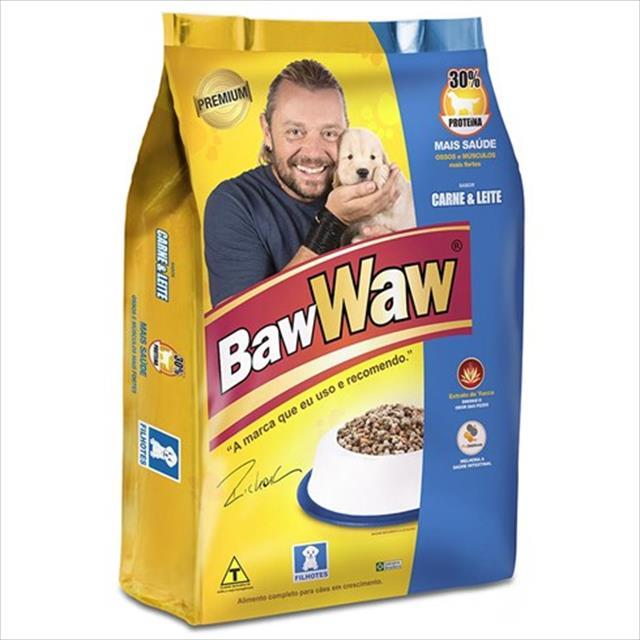 ração premium baw waw carne e leite para cães filhotes - 15 kg