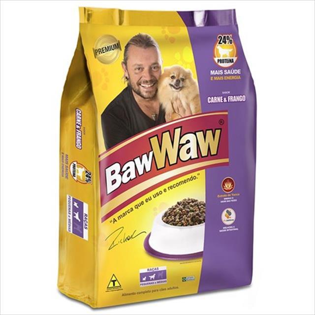 ração premium baw waw sabor carne e frango para raças pequenas e raças medias - 15 kg