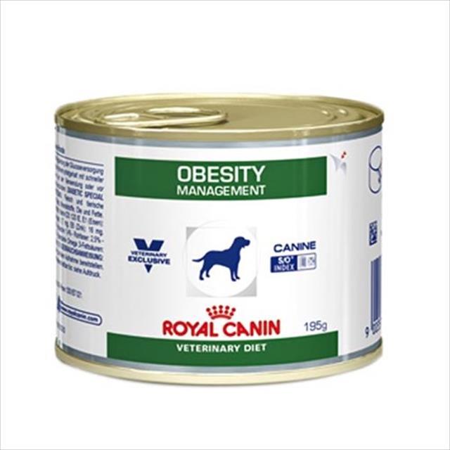 ração royal canin lata canine veterinary diet obesity management para cães obesos - 195 g