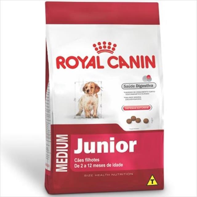 ração royal canin medium junior para cães filhotes de raças médias de 2 a 12 meses de idade - 15 kg