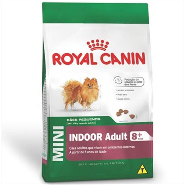 ração royal canin mini indoor adult 8+ para cães adultos de raças pequenas em ambientes internos ração royal canin mini indoor 8+ para cães de raças pequenas adultos em ambientes internos - 3 kg
