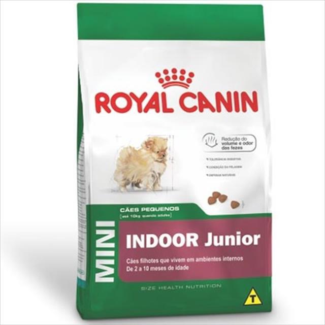 ração royal canin mini indoor junior para cães filhotes de raças pequenas ambientes internos ração royal canin mini indoor para cães filhotes de raças pequenas ambientes internos - 7,5 kg