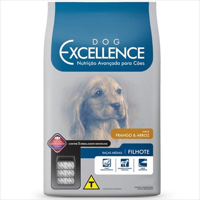ração selecta dog excellence cães filhotes de raças medias - frango e arroz - 3 kg