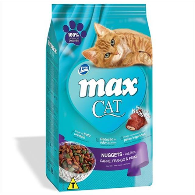 ração total max cat nuggets de carne, frango e peixe para gatos adultos - 8kg