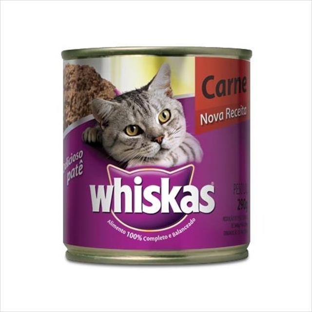 ração whiskas lata patê de carne - 290gr