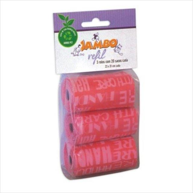refíl jambo de saquinhos para coletar fezes bio grafiti com 3 rolos de 20 sacos - rosa