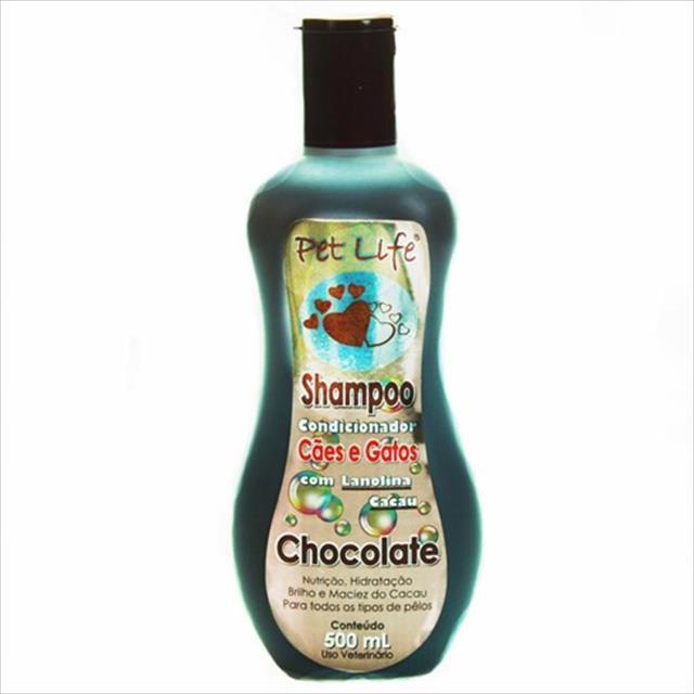 shampoo condicionador para cães e gatos pet life - 500ml shampoo condicionador para cães e gatos chocolate com lanolina cacau pet life - 500ml
