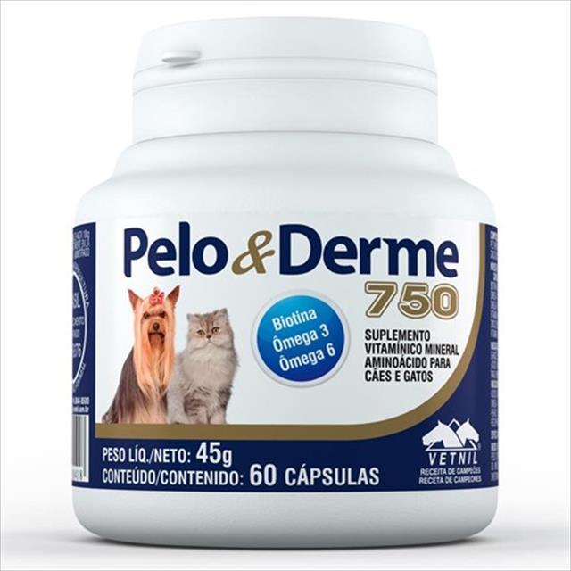 suplemento vetnil pelo & derme 750 com 60 cápsulas - 45 g