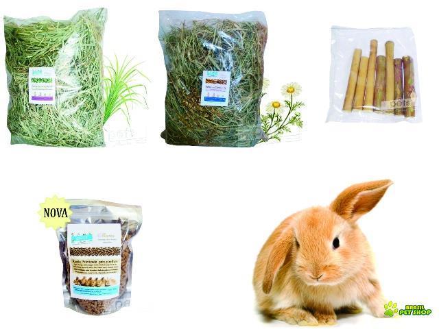 feno,ração,petisco,e brinquedos para chinchila,porquinho da india e coelhos