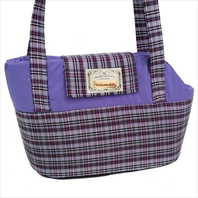 bolsa de transporte pickorruchos xadrez - lilás bolsa de transporte pickorruchos xadrez lilás - tam p