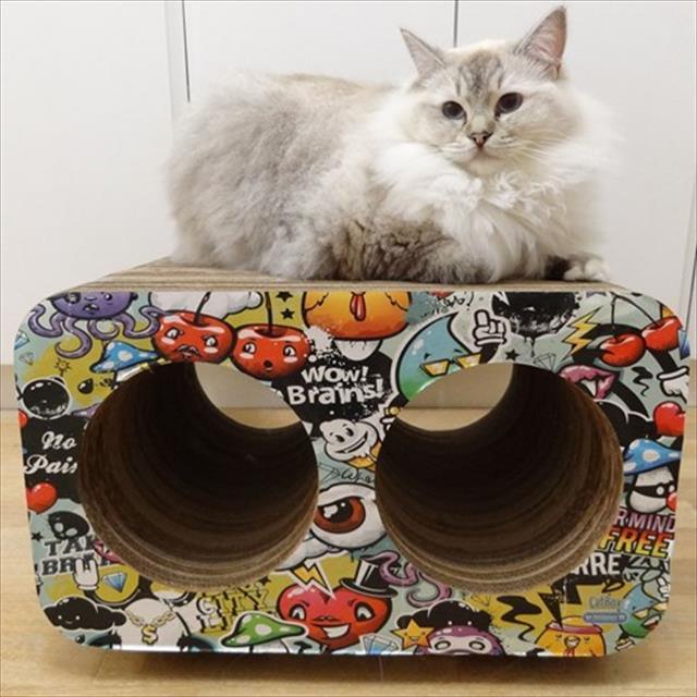 brinquedo arranhador pet games cat box  duplo - grafite