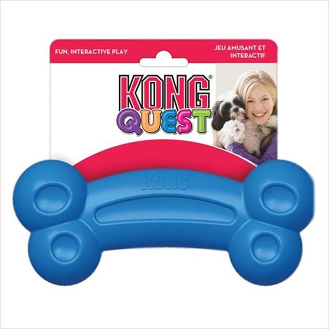 brinquedo interativo kong quest bone com dispenser para petisco - azul brinquedo interativo kong quest bone pe3 com dispenser para petisco azul - pequeno