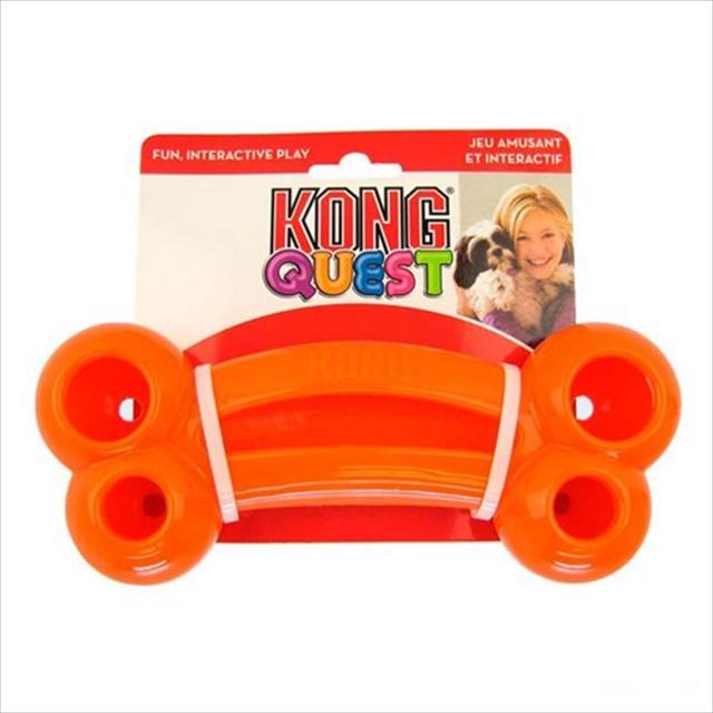 brinquedo interativo kong quest bone com dispenser para petisco - laranja brinquedo interativo kong quest bone pe3 com dispenser para petisco laranja - pequeno