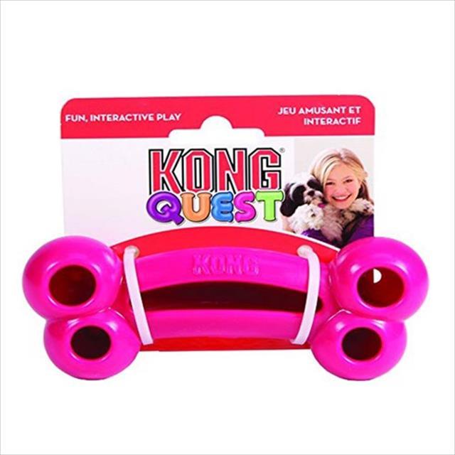 brinquedo interativo kong quest bone com dispenser para petisco - rosa brinquedo interativo kong quest bone pe3 com dispenser para petisco rosa - pequeno