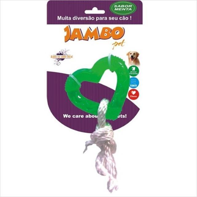 brinquedo jambo tpr rope heart mint - verde