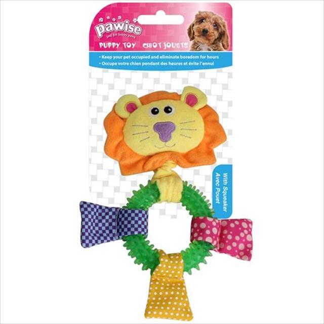 brinquedo mordedor pawise leão de pelúcia e borracha