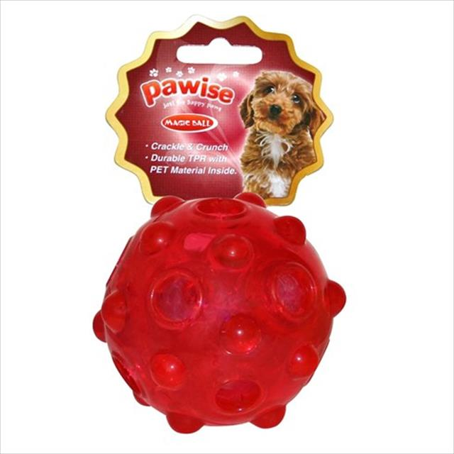 brinquedo pawise bola de borracha com dispenser para petisco - vermelho