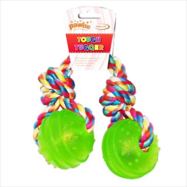 brinquedo pawise bola de borracha dura dupla com corda - verde