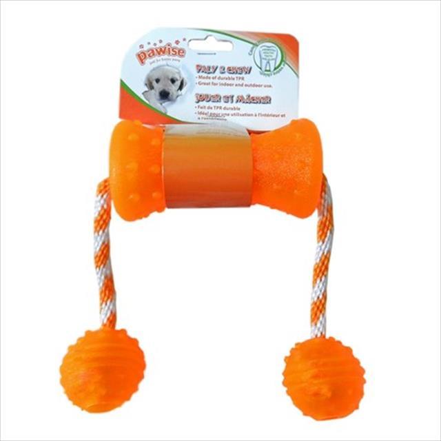 brinquedo pawise mordedor de borracha com corda e bolas - laranja