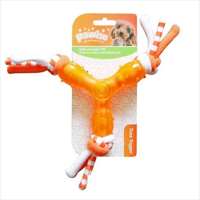 brinquedo pawise mordedor de borracha com corda estrela - laranja