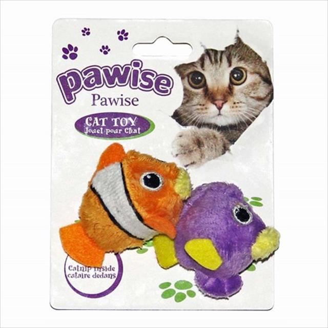 brinquedo pawise peixe duplo com catnip - laranja e roxo