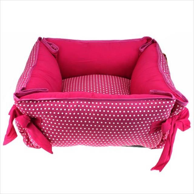 cama colchonete baw waw para cães rosa com poá branco - tam m
