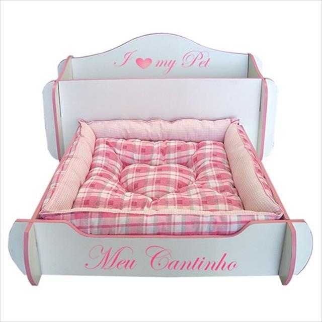 cama mobili pet desmontável cabeceira baú - rosa