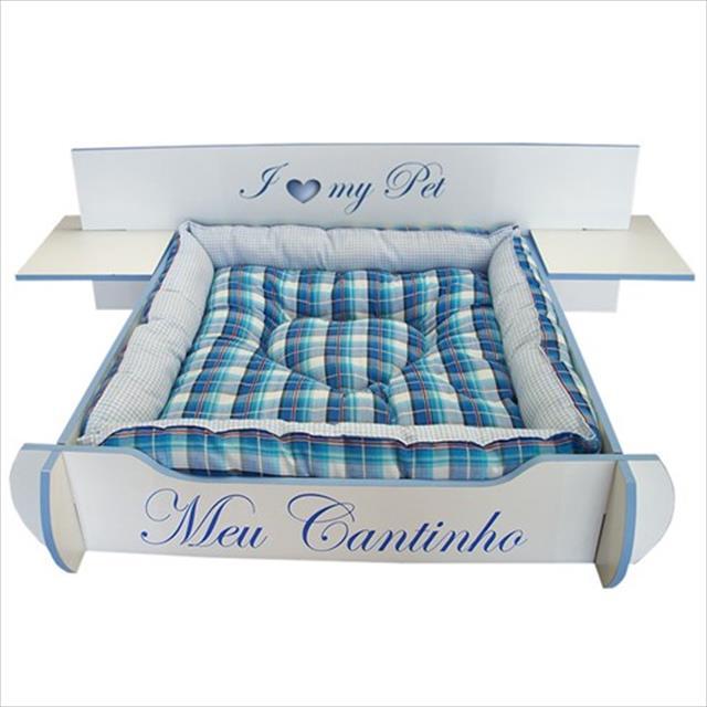cama mobili pet desmontável cabeceira box - azul