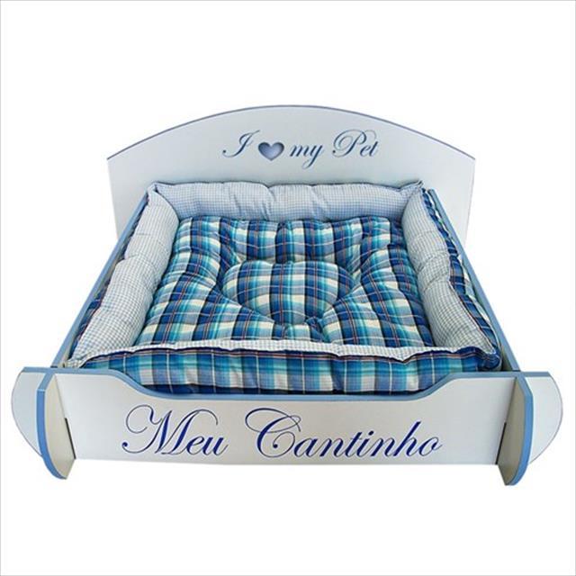 cama mobili pet desmontável cabeceira redonda - azul