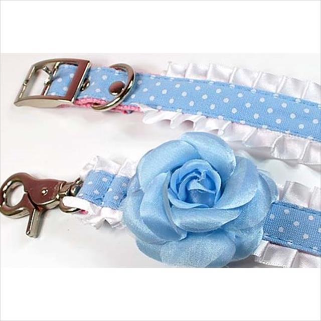 coleira flor - azul - tam m