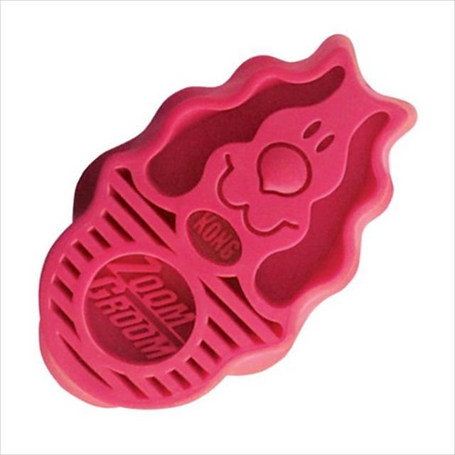 escova kong zoomgroom raspberry zg11 para filhotes ou raças pequenas - rosa