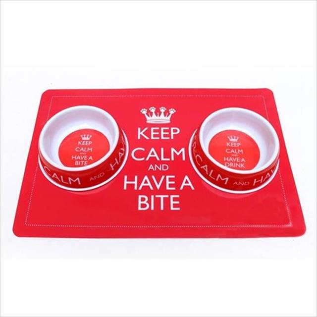 jogo americano + comedouro de melamina + bebedouro de melamina duki keep calm