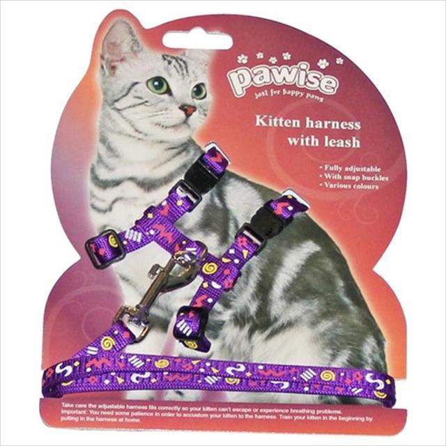 peitoral pawise guia com estampa para gatos - rosa