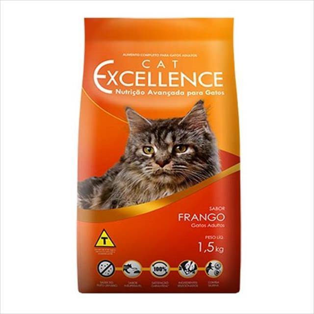 ração cat excellence para gatos adultos - frango - 1,5 kg