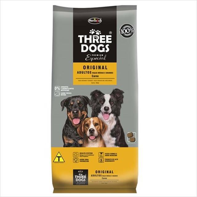 ração hercosul threedogs especial original carne para adultos de raças médias e grandes - 3kg