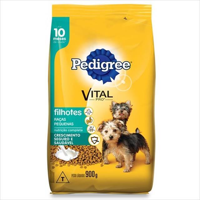 ração pedigree para cães filhotes de raças pequenas até 10 meses de idade - 900gr