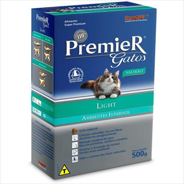ração premier pet gatos ambientes internos light adultos salmão - 7,5kg
