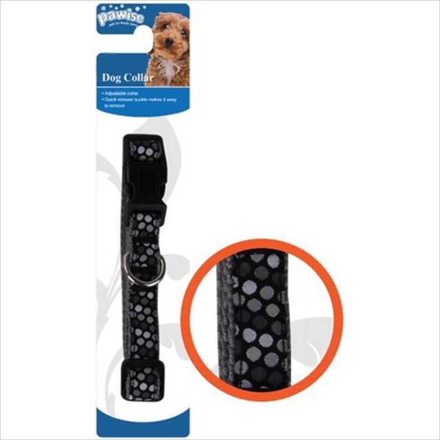 coleira pawise preta com bolinhas para cães e gatos coleira pawise preta com bolinhas - tam. pp