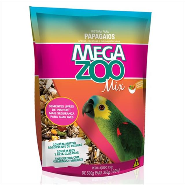 ração mix para papagaios megazoo - 350gr