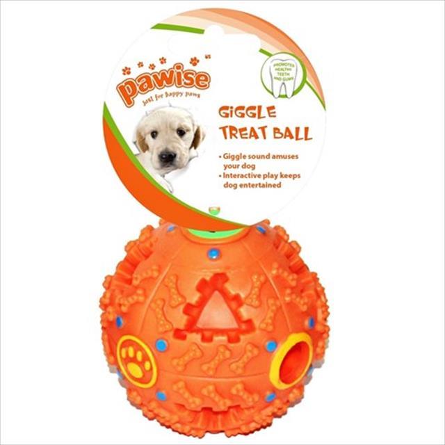 brinquedo pawise bola com dispensador de plástico para petisco - laranja brinquedo pawise bola com dispensador de plástico laranja para petisco - 9 cm