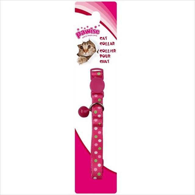 coleira pawise com estampa de bolinhas para gatos - rosa