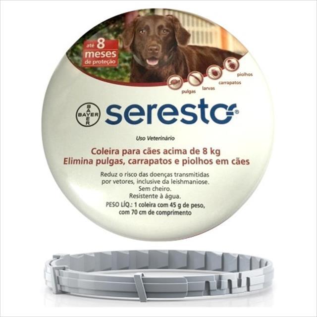 coleira anti pulgas e carrapatos bayer seresto para cães coleira anti pulgas e carrapatos bayer seresto - cães acima de 8 kg
