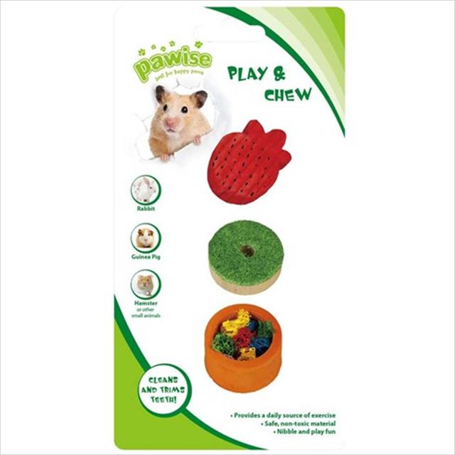 brinquedo pawise de madeira e bucha vegetal para roedores cores variadas - n°1