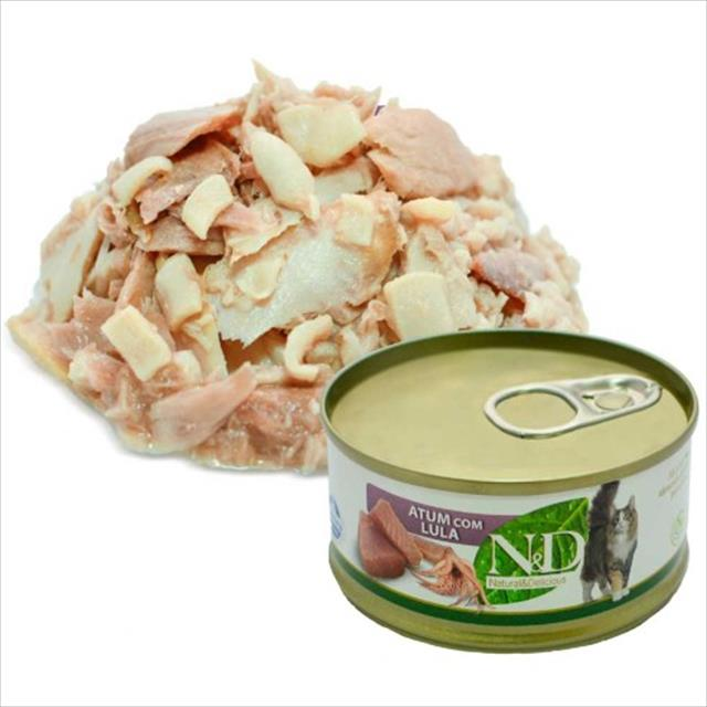 ração farmina n & d úmida de atum e lula para gatos - 70 g