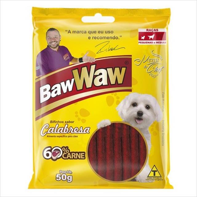 bifinho baw waw sabor calabresa para cães de raças pequenas - 50 g